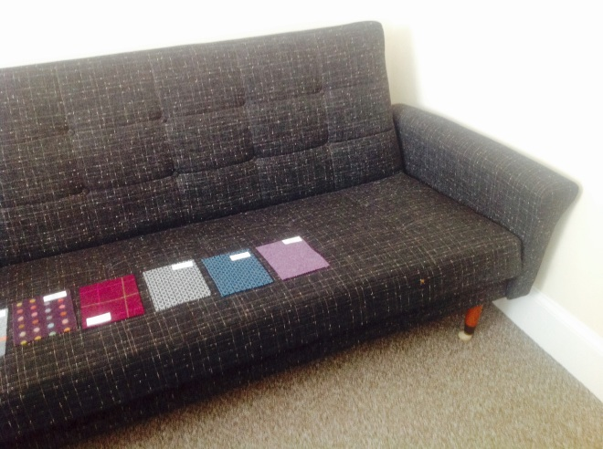 1960s sofa with a selection of fabrics
